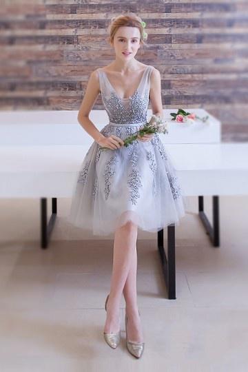 Elegant-A-Linie-Kurz-V-Ausschnitt-Tüll-Brautjungferkleid-Abendkleid-Persunkleid