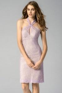 Modisches lila Brautjungfernkleid aus Spitze