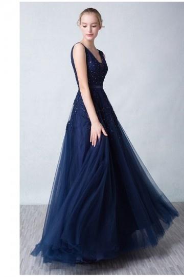 Lang-A-Linie-Ärmellos-Abendkleid-Ballkleid-Tüll-Persunkleid