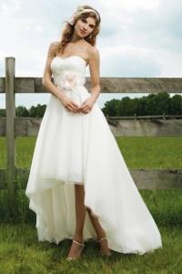 Schönes High Low Elfenbein Brautkleid