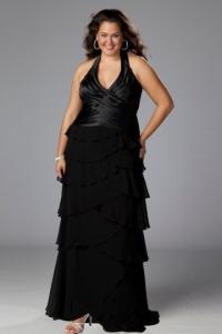 Schönes Langes Schwarzes Abendkleider für Mollige