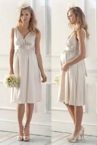 Elegantes Ivory Empire Knielanges V Ausschnitt Brautkleider für Schwangere
