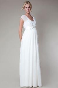 Elegantes Weißes A Linie Brautkleid für Schwangere