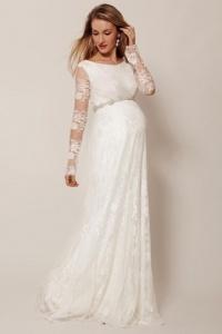 Schlichtes Ivory Brautkleid für Schwangere mit Ärmeln