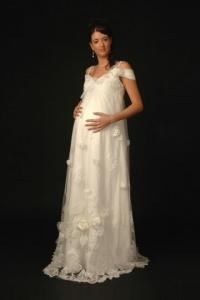 Schönes Ivory A Linie Brautkleid für Schwangere Online