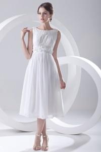 Schönes Weißes A Linie Knielanges Brautkleider