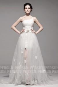 Schönes Ivory Ein Schulter High Low Brautkleider