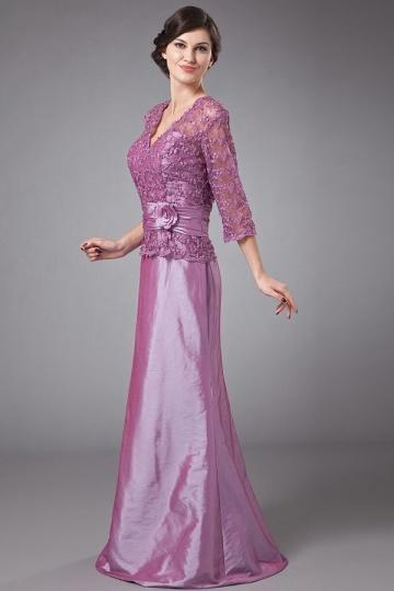 Lila-Spitze-Taft-Lang-Abendkleid-Brautmutterkleid-Persunkleid
